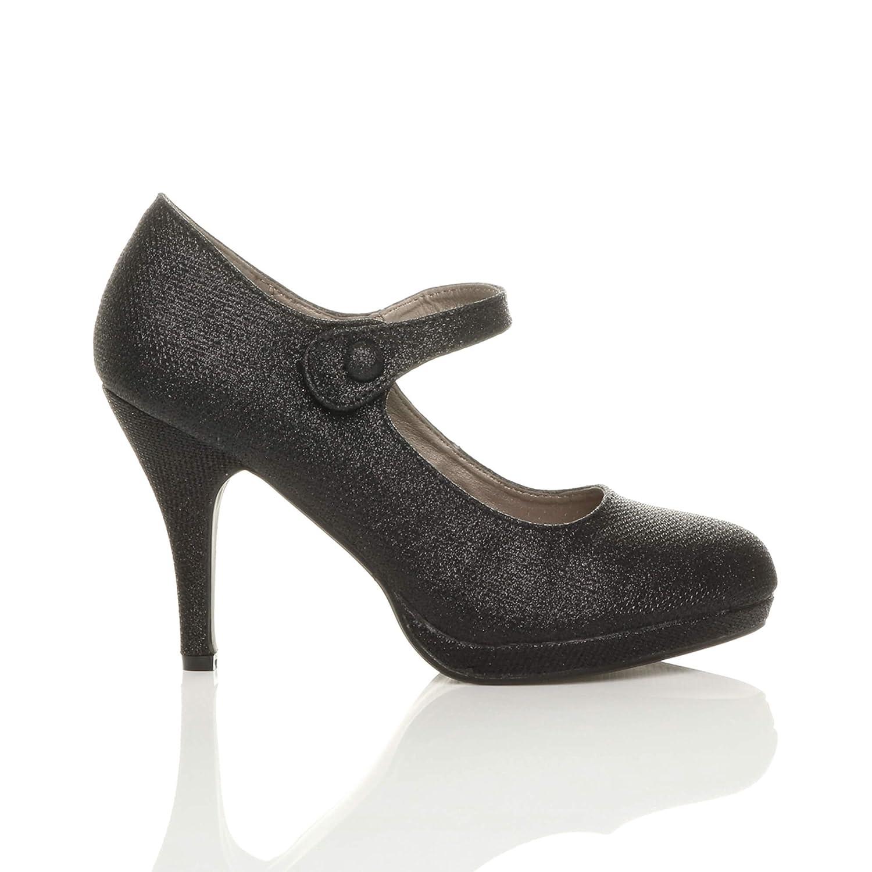 70826c54a44db Ajvani Women's High Heel Mary Jane Court Shoes Pumps Size