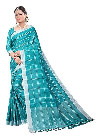 62e9bc06ec Winmaarc Cotton Linen Saree With Unstitch Blouse Piece Fancy Party Wear  Women Sari  Amazon.in  Clothing   Accessories
