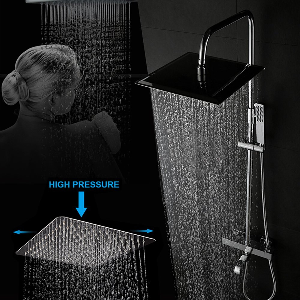 Ayloos Solid Square Ultra Thin 304 Stainless Steel 12 Inches High Pressure Rainfall Spray Rain Shower Head Easy to Install and Clean