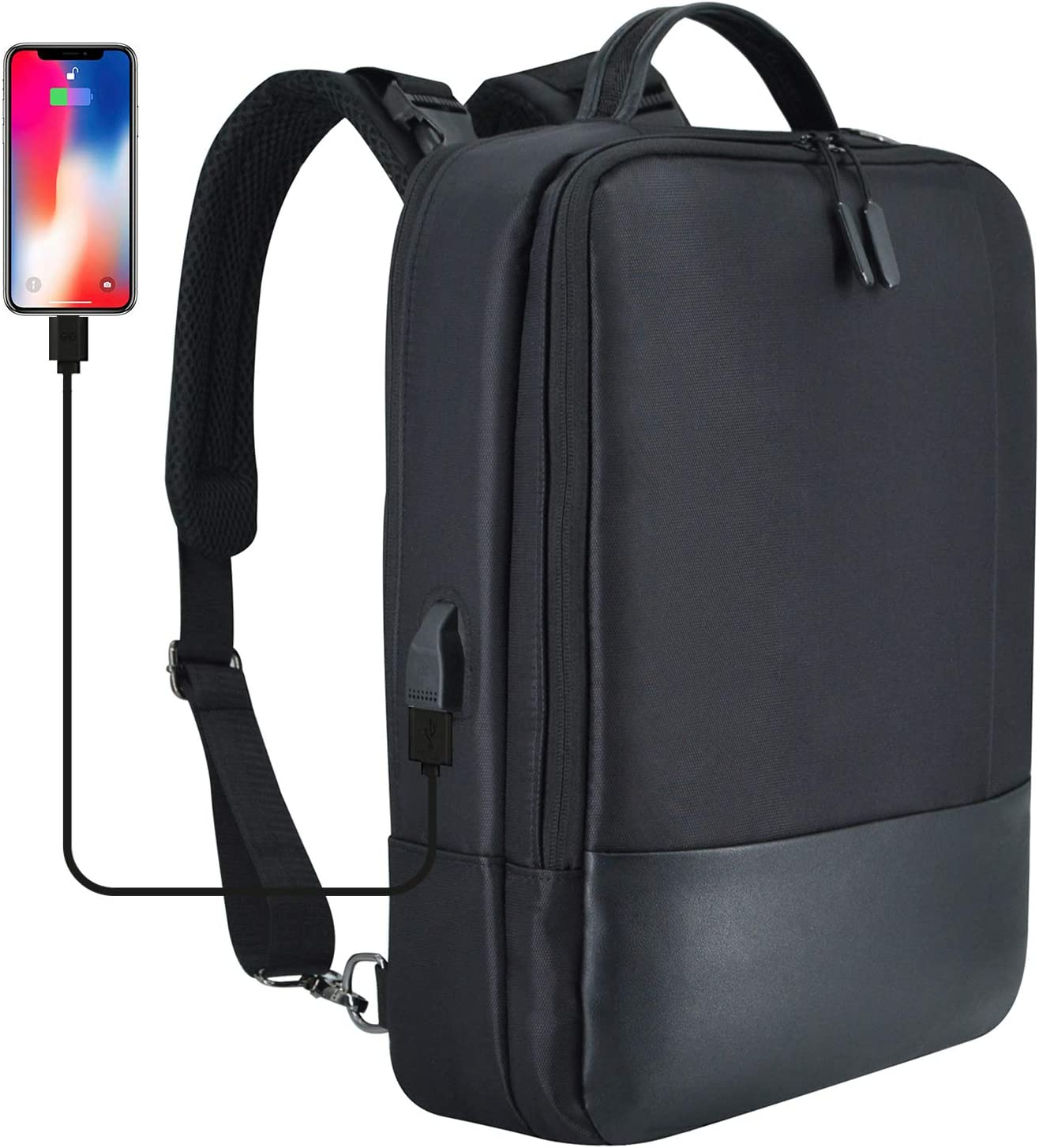 15.6inch Convertible Laptop Backpack Travel Business Bag Carrying Shoulder Bag with USB Port for Macbook Pro 15