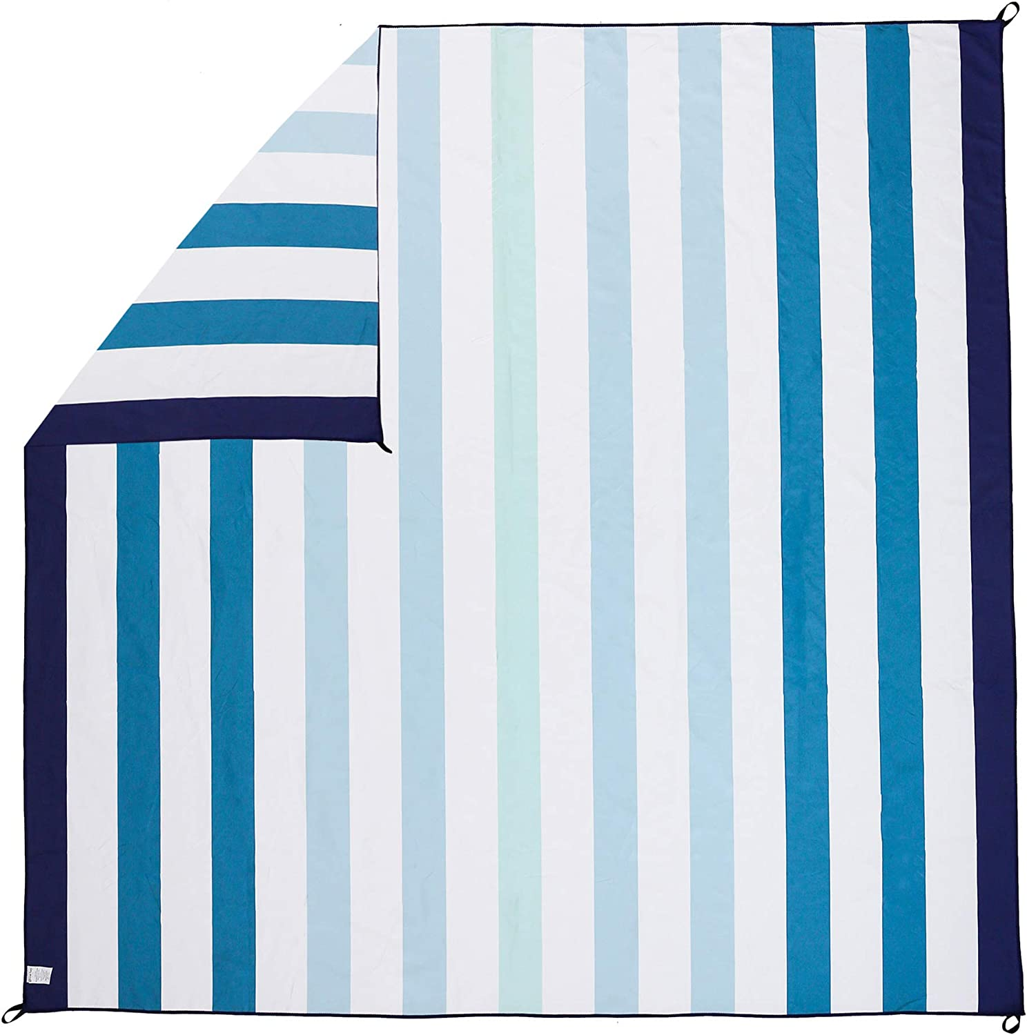 """Great Bay Home Lightweight Reversible Quick Dry Microfiber Beach Towel. Compact for Travel, Beach, Pool, and Boating. Venice Collection. (72"""" x 72"""" Cabana Gradient Stripe)"""