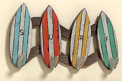 Perchero~~tablas de 4 ganchos percha diseño marítimo: Amazon ...