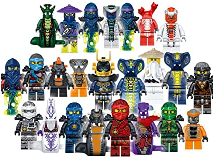 Happy Hama Ninja Warrior Tiny Block People Building Block Figures Set of 24 Ninjas and Serpentine w/ Weapons Accessories Bonus Toy Organizer Storage ...