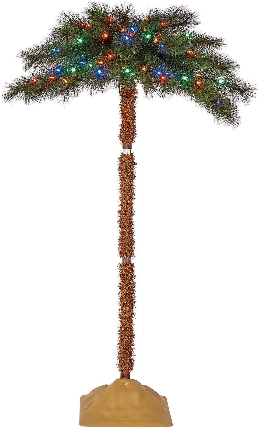 Home Heritage 5 Foot Artificial Pre-Lit Christmas Palm Tree with Multi Color LED Lights and Stand