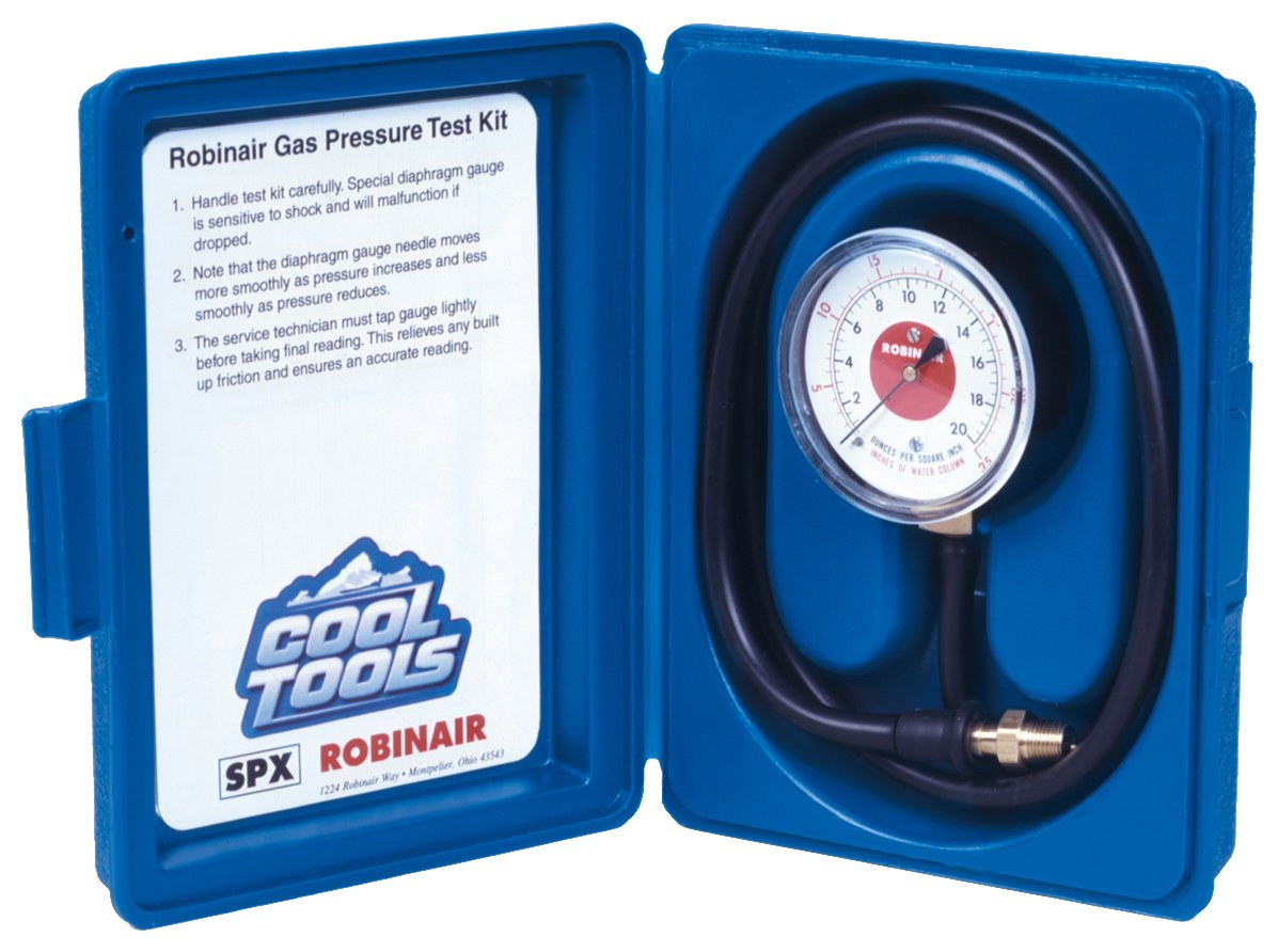 "Robinair 42160 Gas Manifold Pressure Test Kit, 0-35"" Water Column"