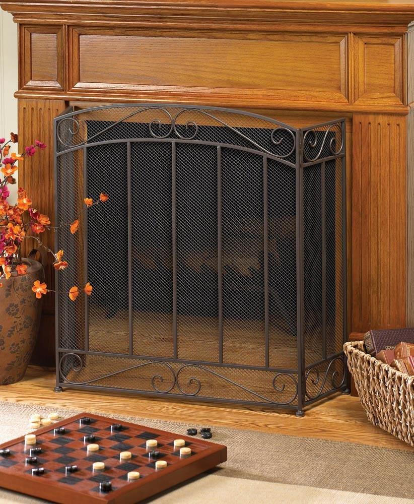 amazon com classic tri fold iron metal and mesh fireplace screen