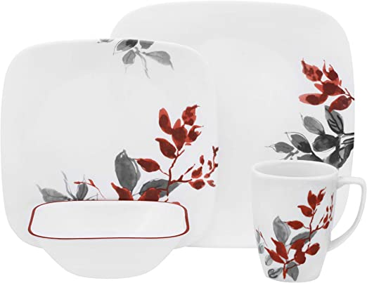 Corelle KYOTO LEAVES Choose SERVING PLATTER or BOWL Japanese Watercolor Red Gray