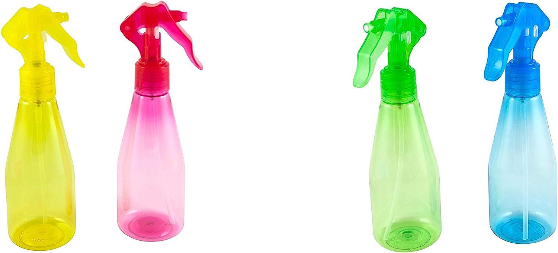 LaMi Set of 2 Colorful Mini Fine Mist Spray Bottles (6 Oz), Food Safe Plastic, Colors Vary, 1-pack