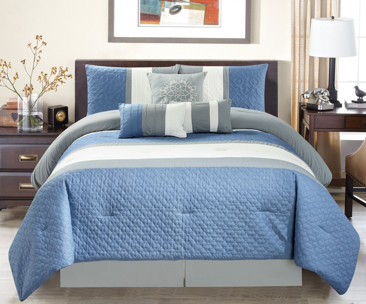 Modern 7 Piece Oversize Grey / Blue / White Embroidered Pin Tuck Comforter Set King Size Bedding