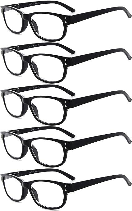Eyekepper 5-Pack Reading Glasses Fashion Reading Eyeglasses Men Women 0.50