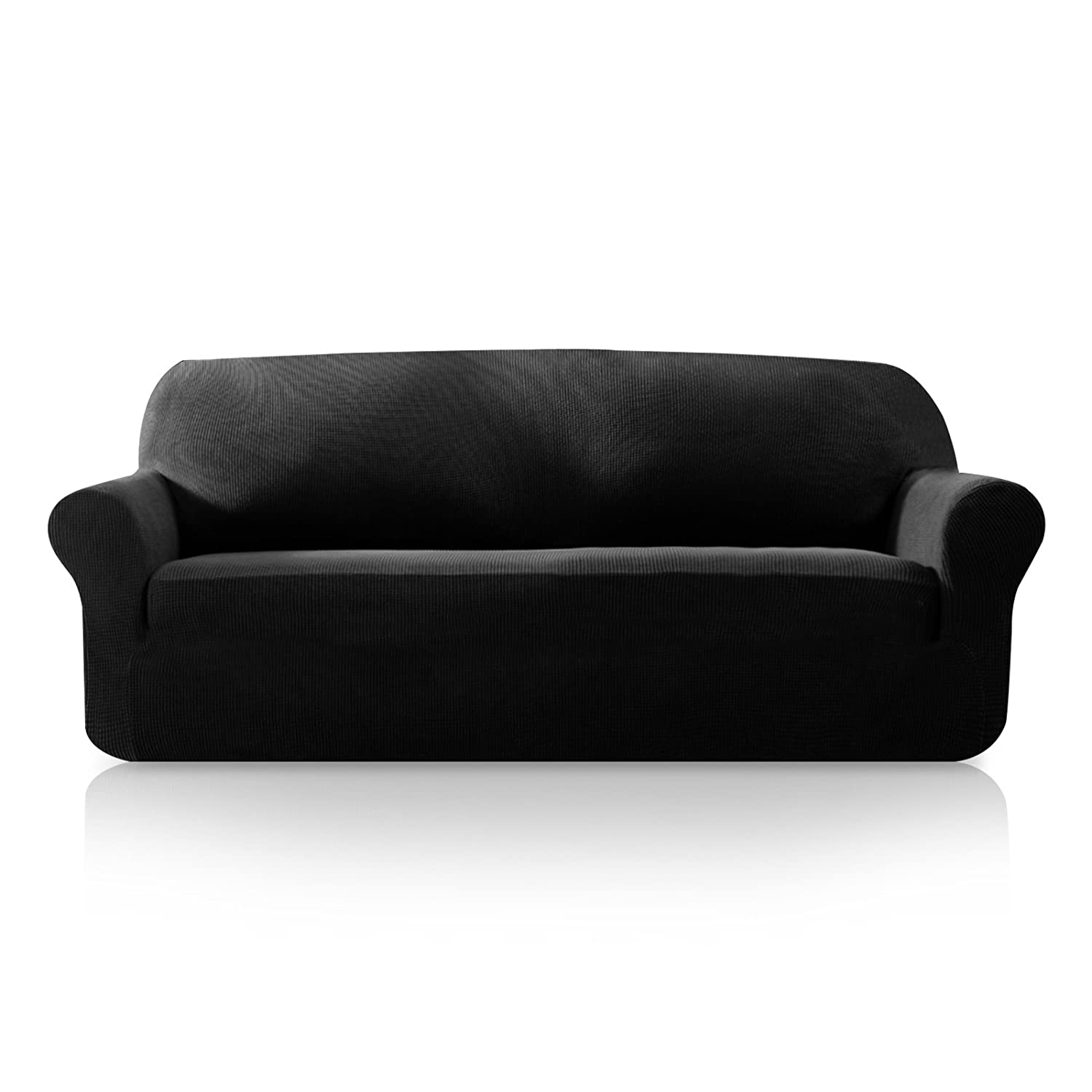 Subrtex 1-Piece Plaid Jacquard Stretch Couch Slipcovers, Chair, Black Shaoxing Yuanyi Household Co. Ltd.