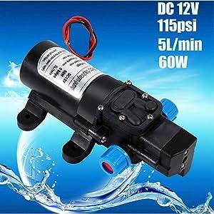 Bomba de agua autocebante automática, 12 V, 115 psi, diafragma de alta presión, bomba de agua autocebante, 5 l/min, 60 W, fines agrícolas para lavar el coche o el jardín