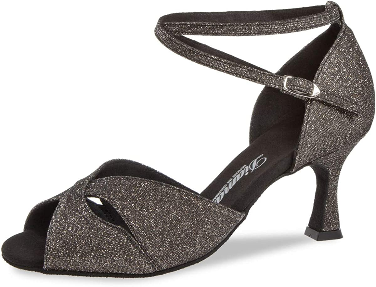 Diamant Mujeres Zapatos de Baile Latino 181-087-510 - Brocado Bronce/Glitter - 6,5 cm Flare - Made in Germany