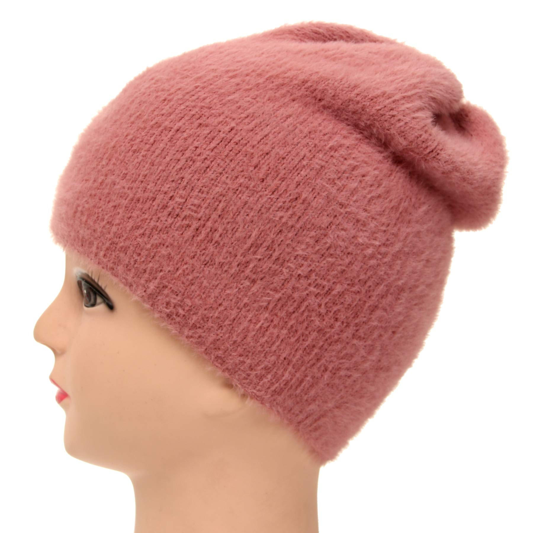 Soul Young Womens Winter Warm Chunky Soft Stretch Knit Beanie Hats Fuzzy Thick Blend Skull caps(Pink)