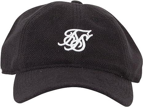 Sik Silk Hombre Casquillo del logotipo del bordado de Terry, Negro ...