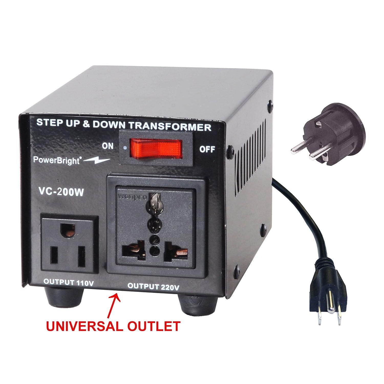 Amazon.com: PowerBright VC200W Voltage Transformer 200 Watt Step Up ...