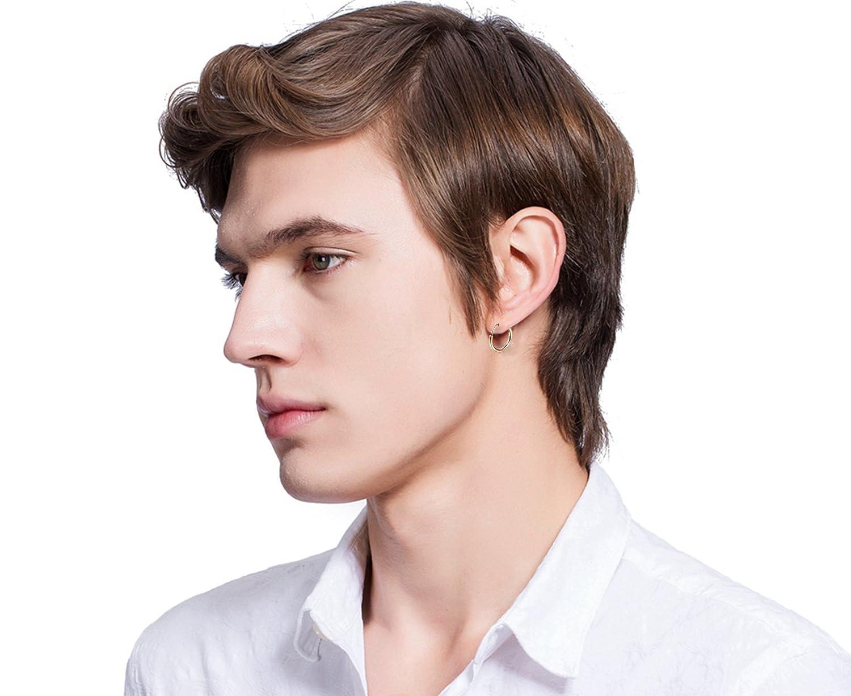 Sailimue 4 Pairs Stainless Steel Hoop Earrings for Men Women Earrings Huggie Ear Piercing 8-14MM 18G