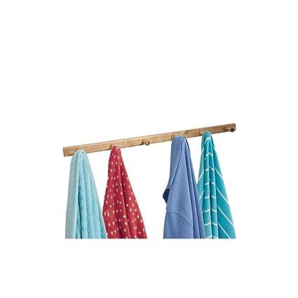 InterDesign Basic Perchero de pared con 6 ganchos para colgar ropa y accesorios, perchero de madera para abrigos, bolsos o toallas, natural