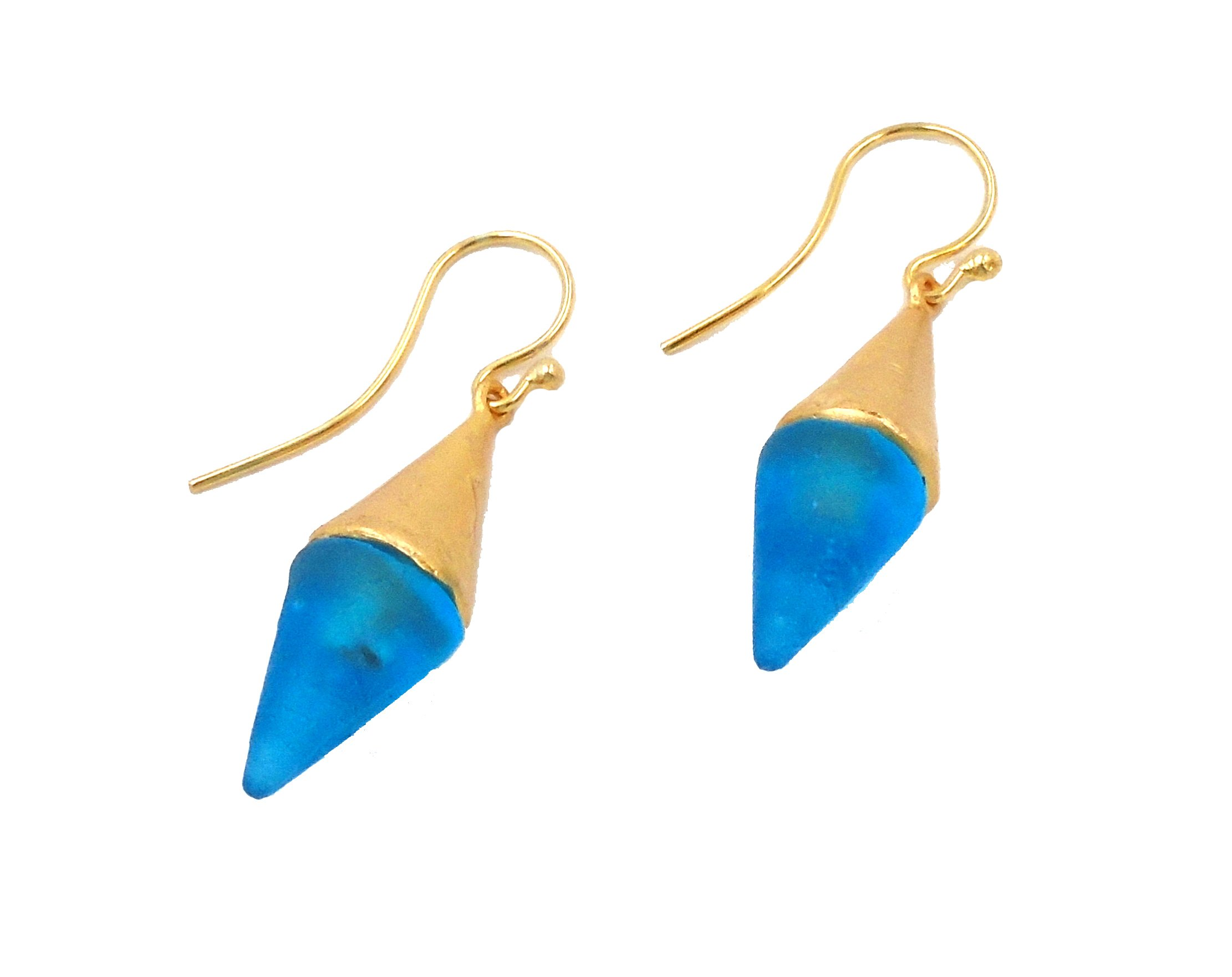 Michael Vincent Michaud- Glass ''Medium Spike Hanging Earring'' in Turquoise