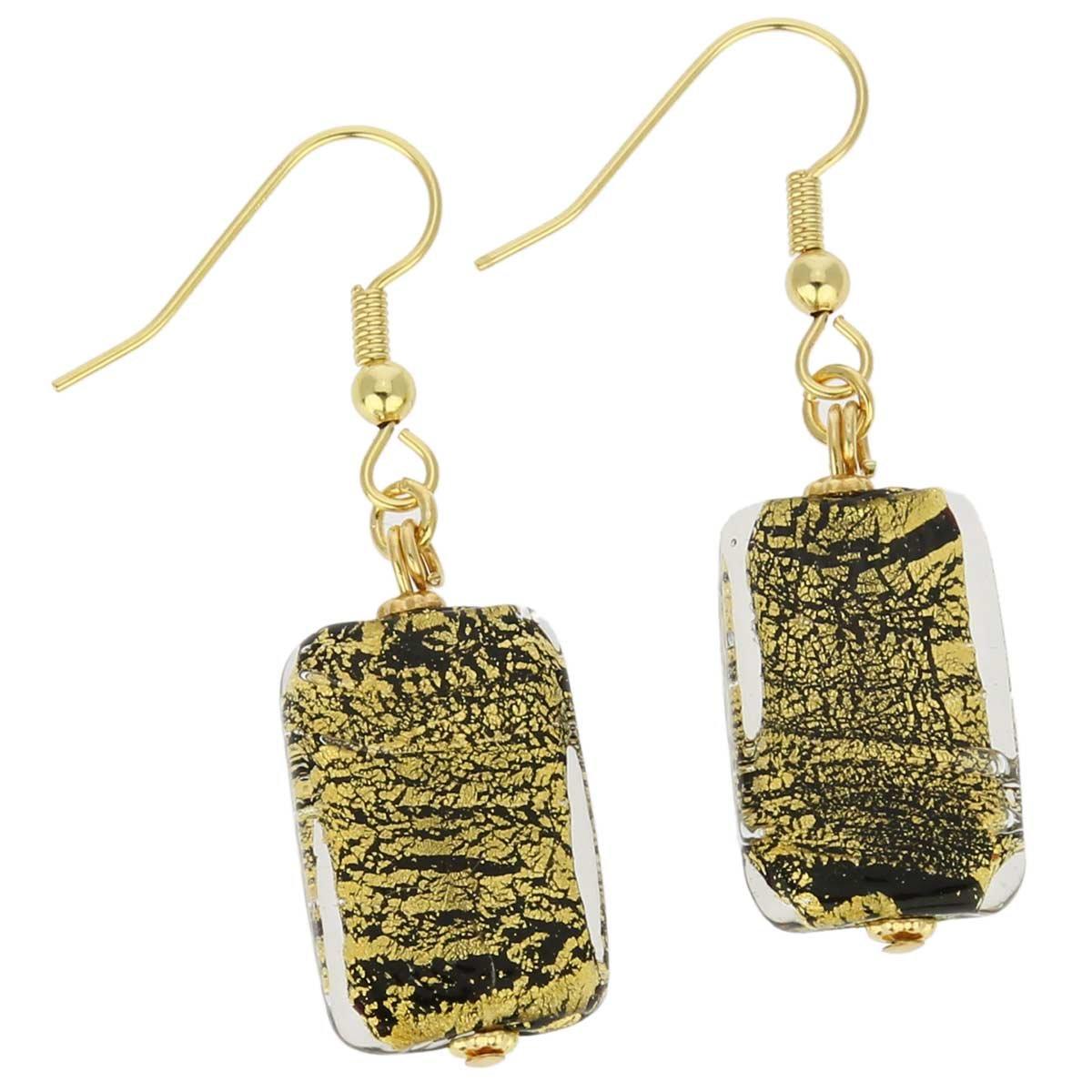GlassOfVenice Murano Glass Vivaldi Earrings - Black and Gold