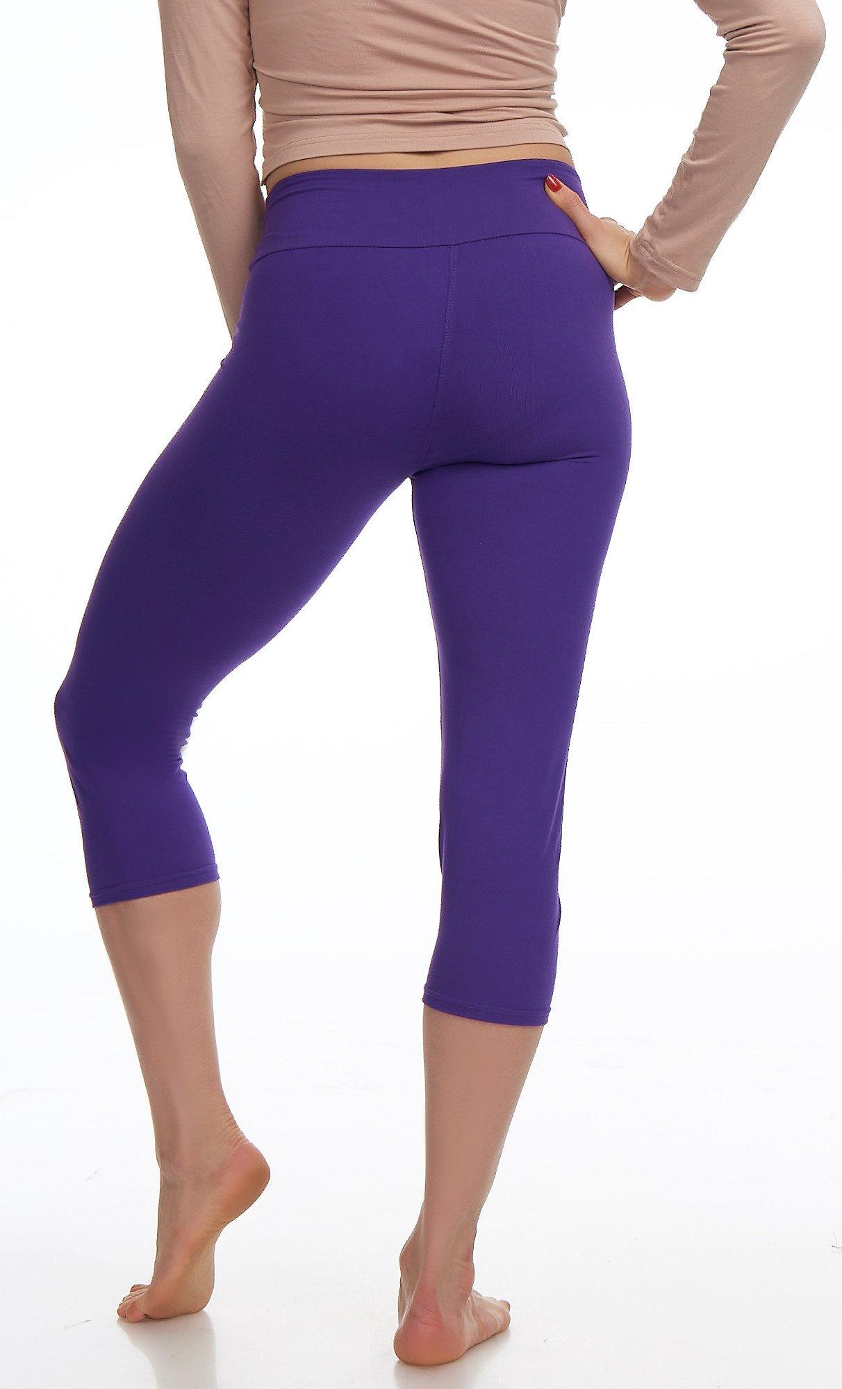 Lush Moda Extra Soft Leggings Variety of ColorsPlus Size Yoga Waist Purple, One Size fits Most (XL 3XL), Purple Yoga Waist by LMB (Image #7)
