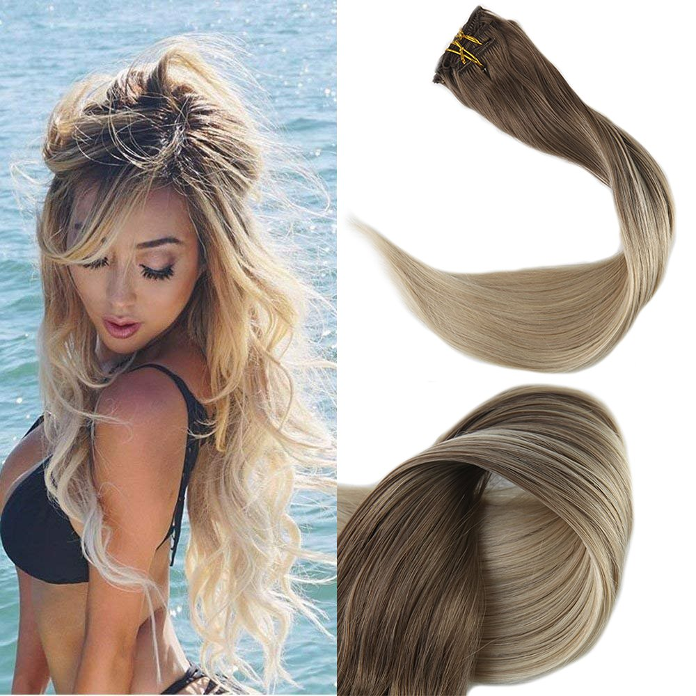 Amazon Full Shine Full Head Best Human Hair Clip Extensions