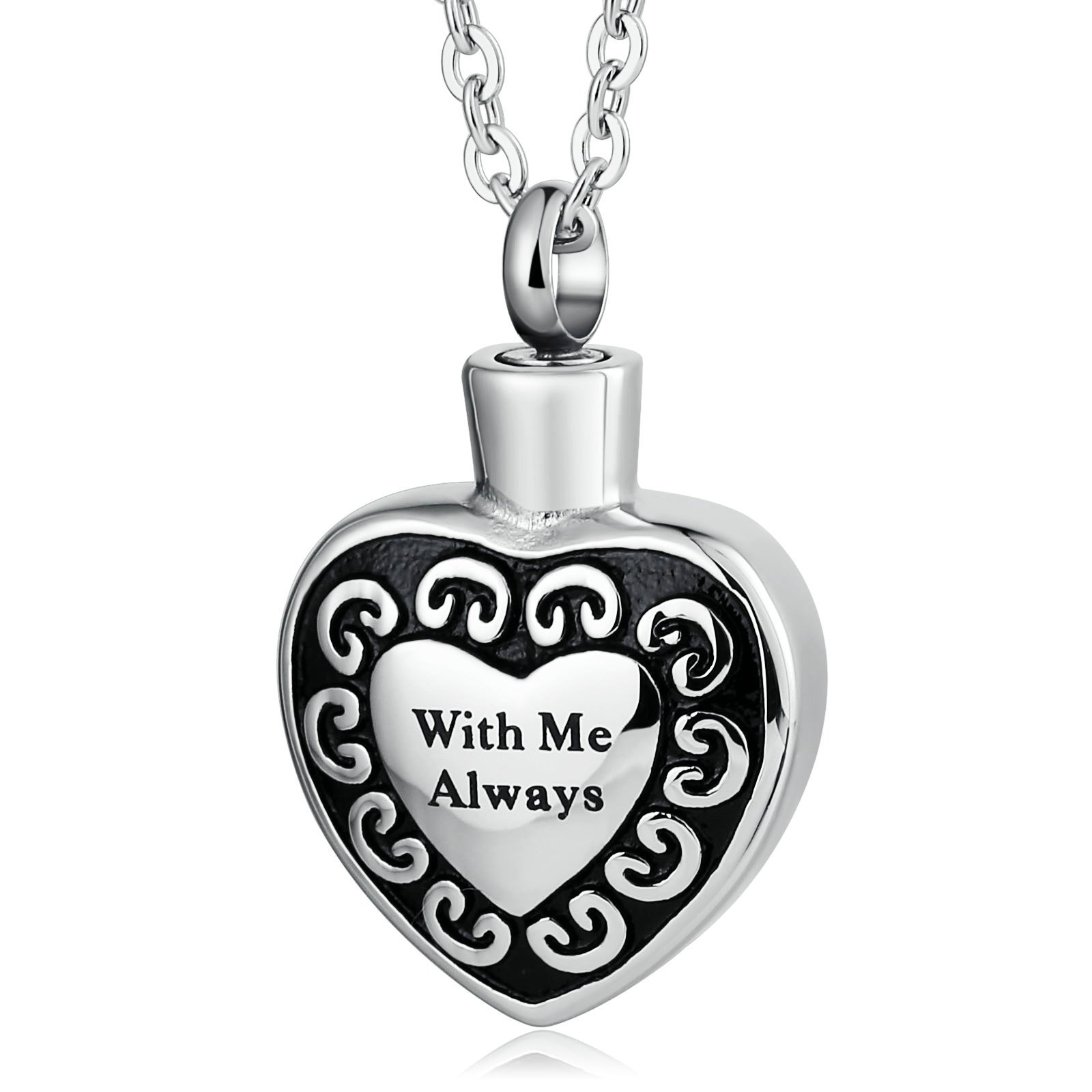 AMDXD Unisex Stainless Steel Ashes Pendant With Me Alwalys Heart Necklaces Silver Memorial Necklace