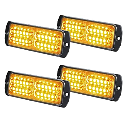 ASPL 4pcs Sync Feature 24-LED Surface Mount Flashing Strobe Lights for Truck Car Vehicle LED Mini Grille Light Head Emergency Beacon Hazard Warning lights (Amber): Automotive