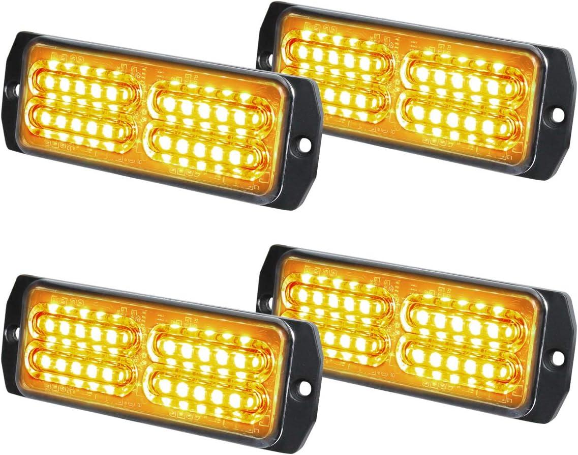ASPL 4pcs 24-LED Surface Mount Grille Flashing Strobe Lights Amber//White Super Bright Mini LED Light-Head Emergency Hazard Warning lights for Construction Vehicle Tow Truck Van SUV