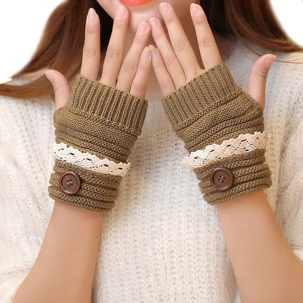 Cute Lace Winter Ladies Hand Warm Warmer Knitted Fingerless Mitten Half Thumb Hole Gloves Coffee Haifly