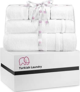 Turkish Laundry Luxury Bath Towel Set, Thick, Soft & Absorbent, 100% Organic Turkish Cotton, 850 GSM, Gift Boxed, 5 Piece, White