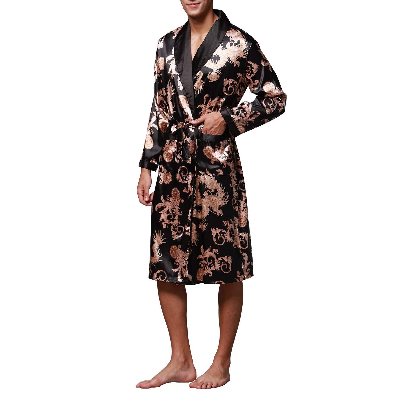 Lu s Chic Men s Satin Kimono Robe Silk Spa Bathrobe Luxurious Dragon Robe  Pockets Loungewear at Amazon Men s Clothing store  482ce2422