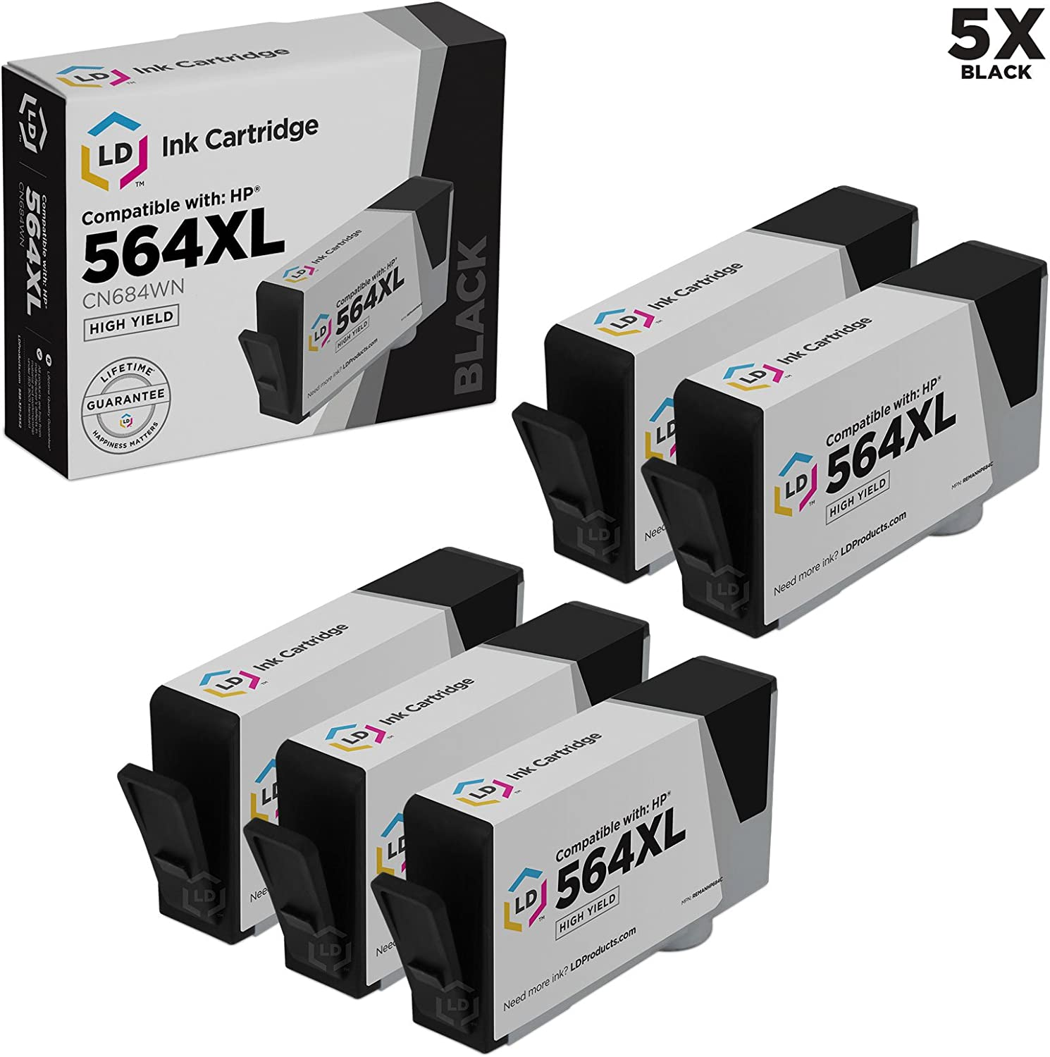 LD Remanufactured Ink Cartridge Replacement for HP 564XL CN684WN High Yield (Black, 5-Pack)