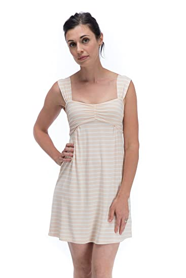 b784850e80dc Image Unavailable. Image not available for. Color  BTBG750 Small Shell  Stripe Cleo BambooDreams Knit Tank Top Gown