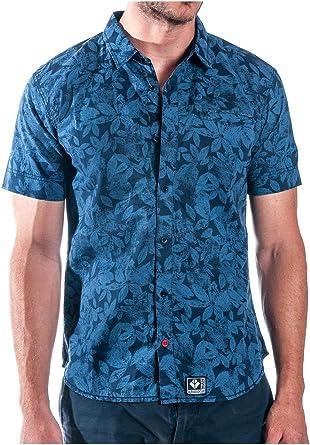 ALPHADVENTURE Camisa con Estampado de Hojas Estevo para Hombre Azul XL: Amazon.es: Ropa y accesorios
