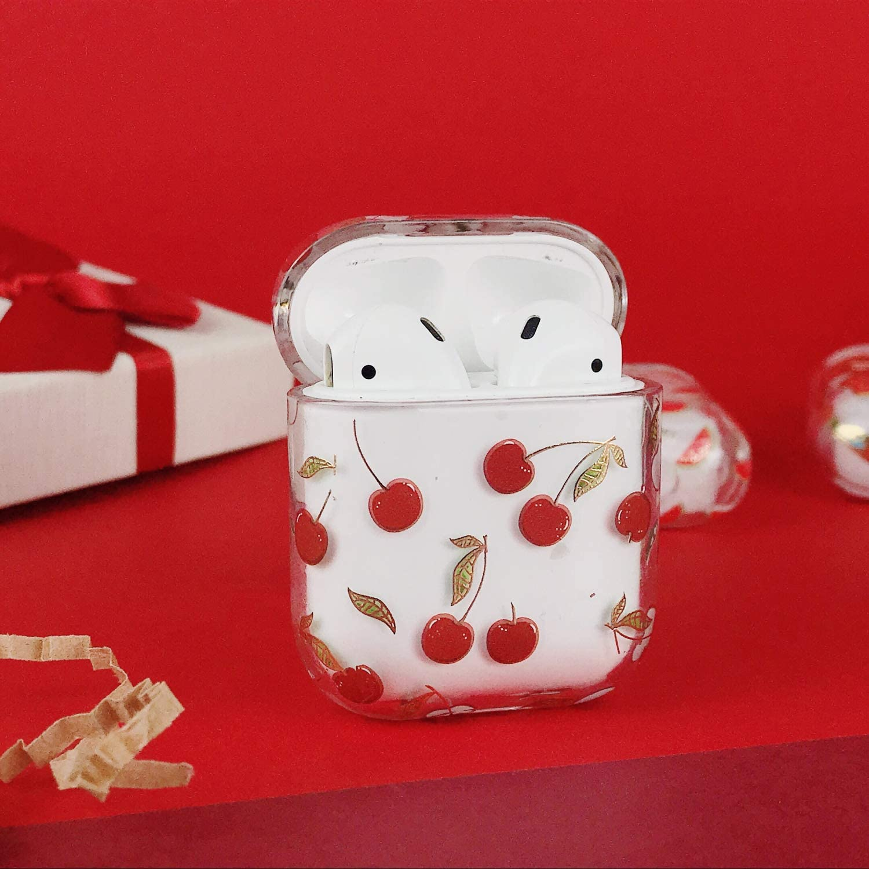 Oihxse Compatible pour AirPods 1 et 2 Coque Transparent Motif Mignon Ultra Fine PC Dur Protection Housse Filles des Fruits Charging Anti-Choc /Étui Case pour AirPods 2 /& 1 Fleur 1
