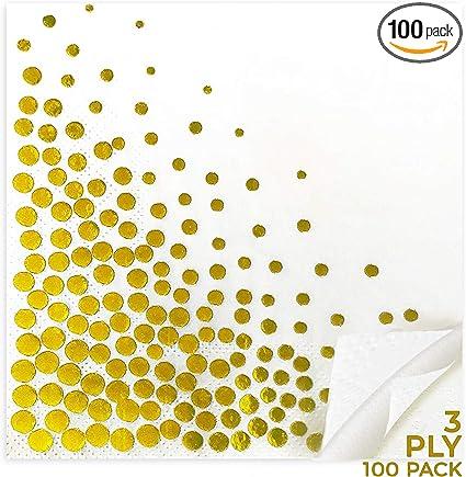 Metallic Gold Polka Dot Napkins 2ply paper Party Tableware Disposable Birthday