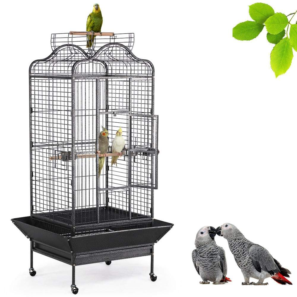 Yaheetech Wrought Iron Rolling Extra Large Open Play Top Bird Cage for Mini Macaw Goffin's Cockatoo Cockatiels African Grey Small Quaker Amazon Parrots Green Cheek Conures Caique Bird Cage with Stand by Yaheetech