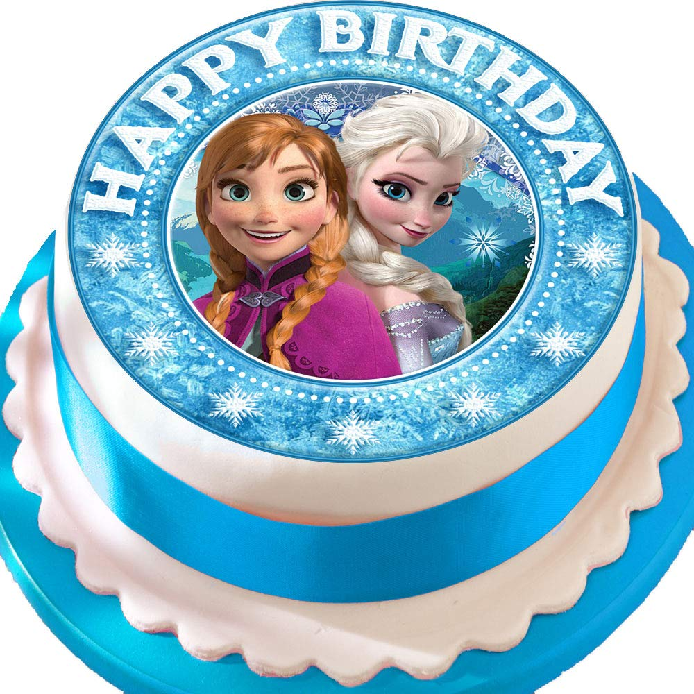 Excellent Frozen Pretty Anna And Elsa Birthday Precut Edible Icing Cake Funny Birthday Cards Online Overcheapnameinfo