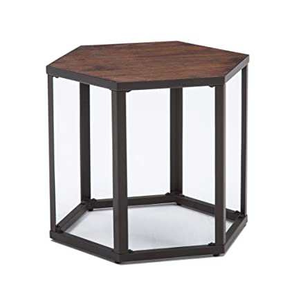 amazon com lssbought wood and metal end table side talbe 23 25