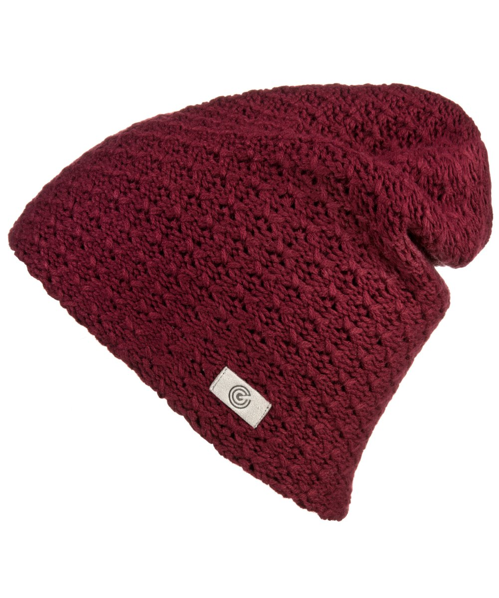 Evony Womens Textured Beanie with Warm Knit Lining- One Size (Maroon)