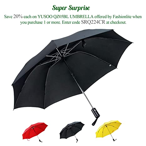 YUSOO Automatic Compact Travel Umbrella with Reverse,210T Auto Open Close Folding Strong Windproof UV
