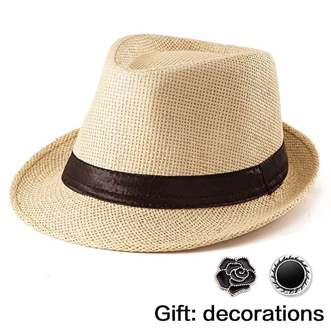 f4061e0ac1219 Men Straw Hats for Women - Yellow Sun Hat for Ladies Classic Fedora Hat  Trilby
