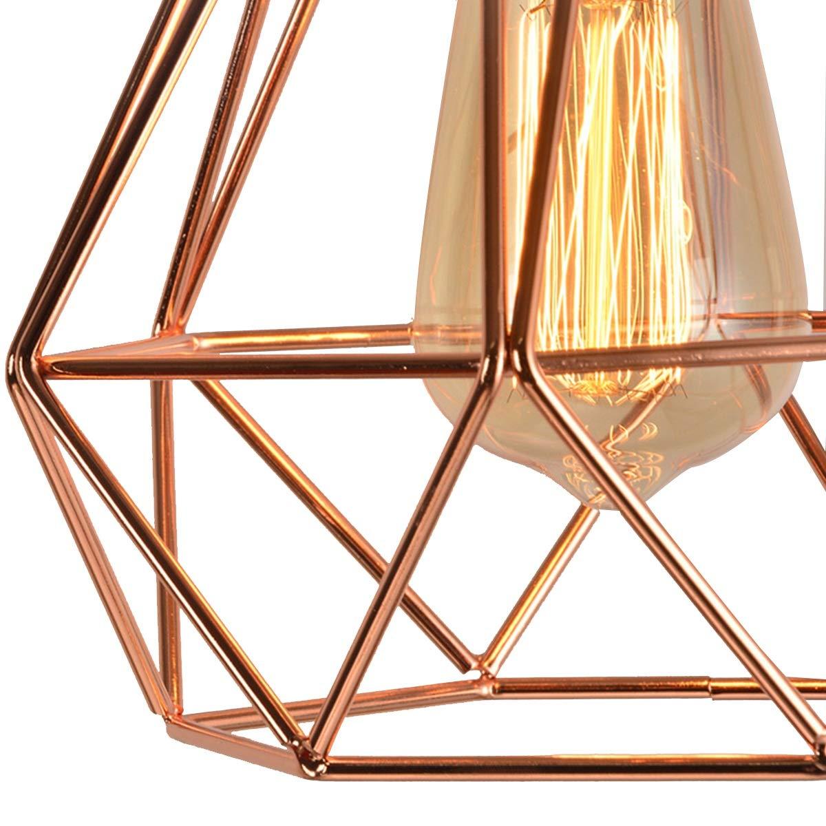 NANGE Modern Chandelier,Personality Plating Rose Gold Pendant Lights,Kitchen Island Table Dining Room Bedroom Entryway Hanging Lamp,E27(Without Light Source) (Color : AC 110V, Size : Gold) by NANGE (Image #5)