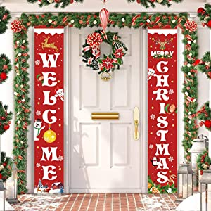 Unves Christmas Porch Sign, Merry Christmas Banner Indoor Outdoor, Christmas Decorations Welcome Hanging Door Banner for Front Home Wall Holiday Party Supplies
