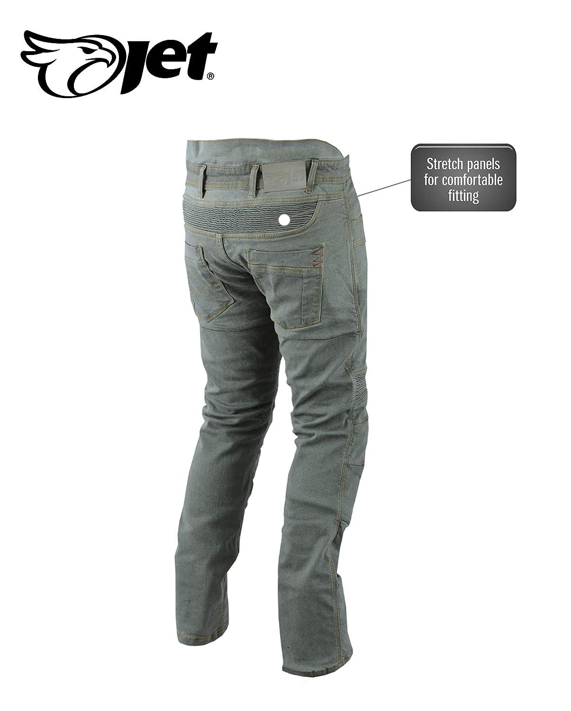 Jet Pantalon Moto Homme Jeans Kevlar Aramid avec Armure Tech Pro Bleu, UK W36 L34 // EU 52 Long