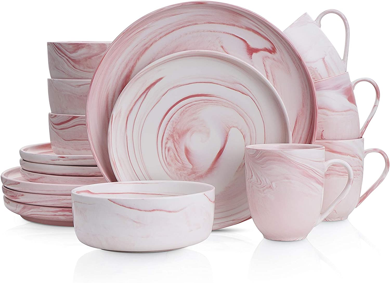 Stone Lain Marble Porcelain Dinnerware Set, 16 Piece Service for 4, Matte Pink