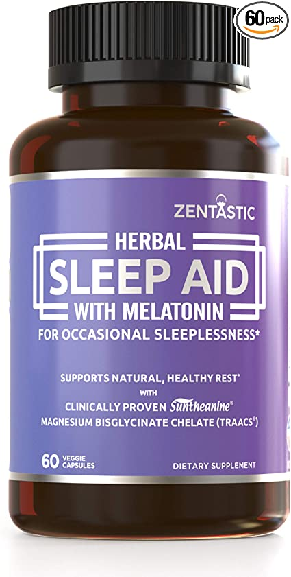 Zentastic Herbal Sleep Aid – Non Habit Forming Sleeping Pills (1013mg) – Anxiety and Insomnia Relief