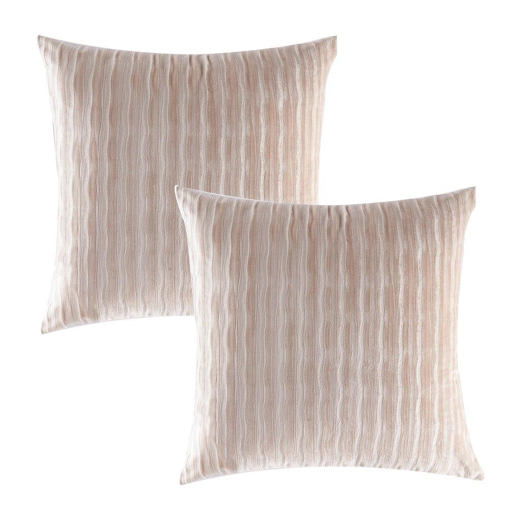 Gourd人形2パック枕カバー、ベルベット装飾Lvoryパープルスロー枕クッションカバー用のソファ椅子ストライプエンボスby 18x18inch(45x45cm) B07C3SQWH8Ivory(2pack) 18x18inch(45x45cm)
