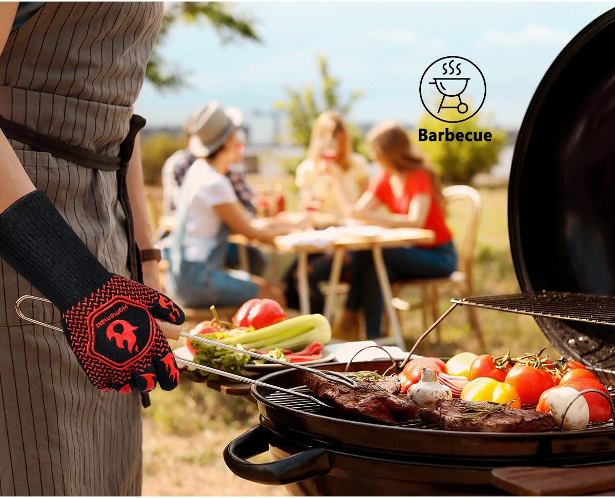 BBQ Gloves,Oven Gloves1472℉ Extreme Heat Resistant Kitchen Grill Gloves,14 Inch -Red